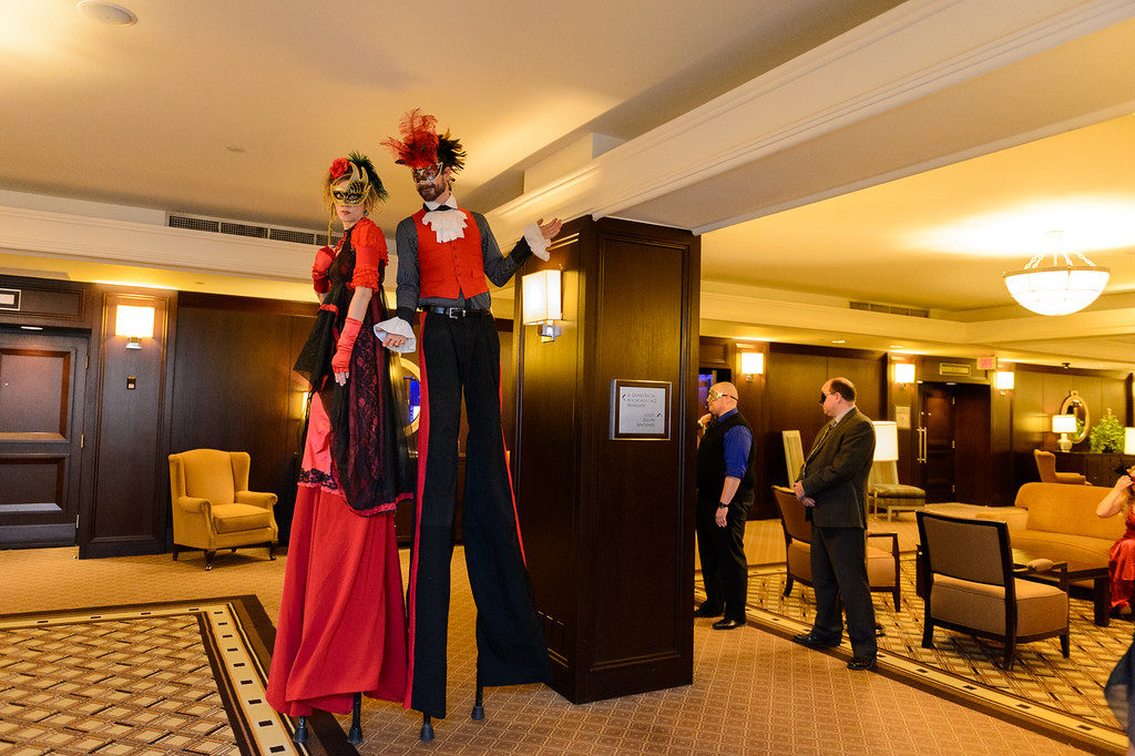 Stilt performers at corporate event