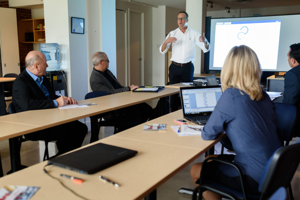Photo of consultant giving workshop