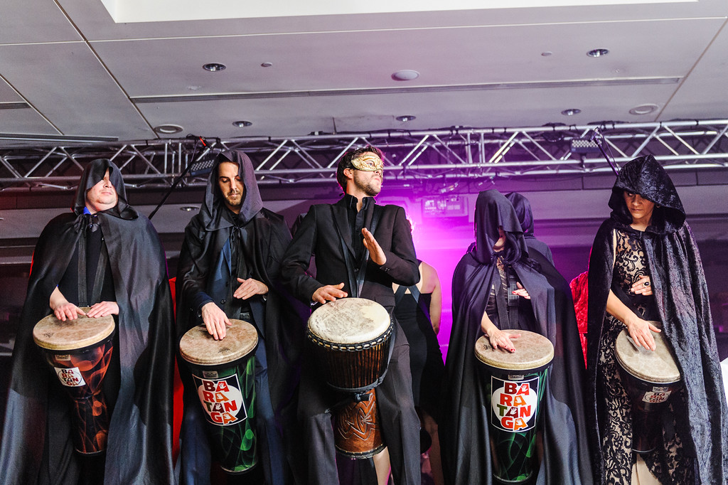 Djembe performance by employees at holiday party