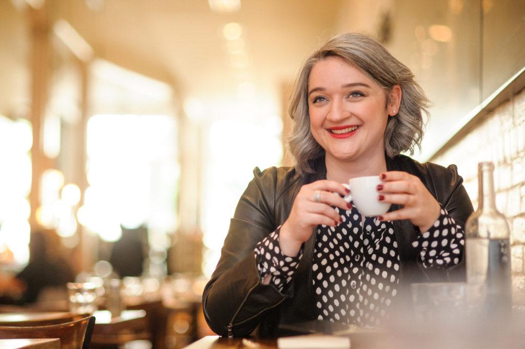 Casual entrepreneur portrait in coffeeshop
